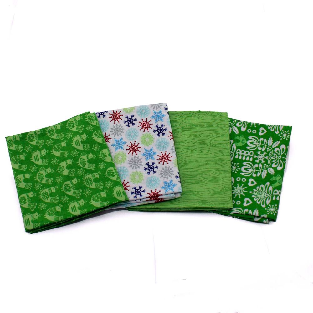 Folk Art Holiday 4 fat Quarters Green